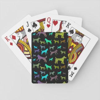 Cães do arco-íris no preto jogo de baralho