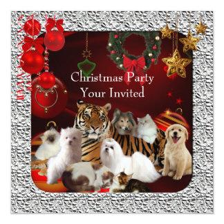 Cães dos gatos de tigre do Xmas da festa de Natal Convite Quadrado 13.35 X 13.35cm