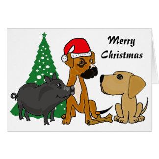 Cães dos vagabundos e cartão de Natal do porco