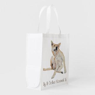 Cães engraçados bonitos que riscam o slogan cómico sacolas ecológicas para supermercado