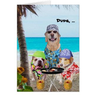 Cães engraçados/laboratório em camisas havaianas n cartão