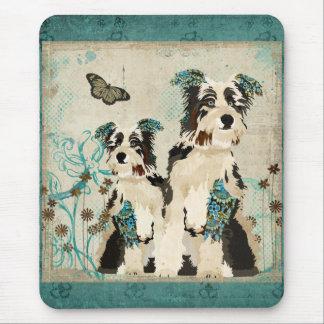 Cães florais azuis Mousepad do vintage