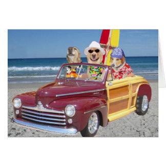 Cães havaianos customizáveis/laboratórios do surfi cartão
