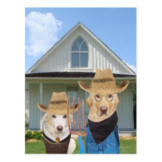 Cães/laboratórios góticos americanos engraçados cartão postal