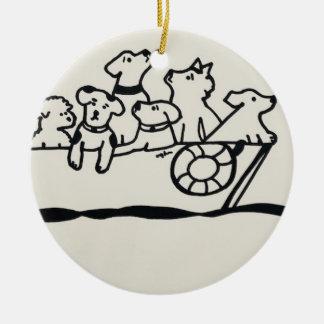 """Cães ornamento no barco"" por Willowcatdesigns"
