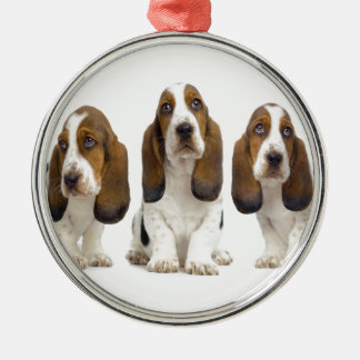 cães ornamento redondo cor prata