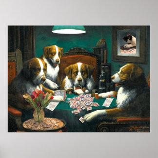 Cães que jogam o poster do Mah Jongg