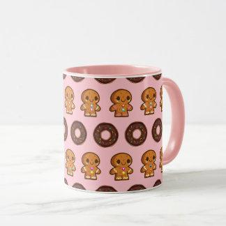 Café & caneca cor-de-rosa das rosquinhas