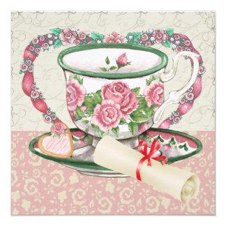 Café da graduação/tea party doces - SRF Convite Quadrado 13.35 X 13.35cm