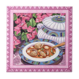 Café da ilha - a sopa é servida azulejo quadrado pequeno
