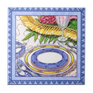 Café da ilha - ajuste de lugar dos leus do azulejo quadrado pequeno
