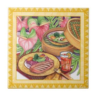 Café da ilha - navio a vapor de bambu azulejo quadrado pequeno