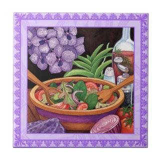 Café da ilha - salada tropical azulejo quadrado pequeno