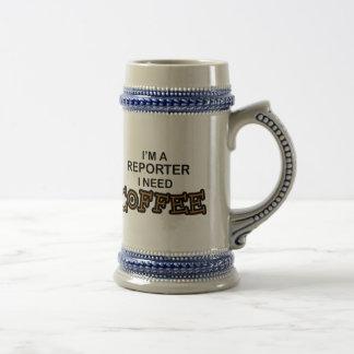 Café da necessidade - repórter caneca de cerveja