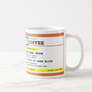Café da prescrição personalizado caneca de café