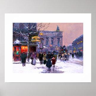 Café de la Paix, Opera.Winter. Poster das belas ar