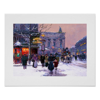 Café de la Paix, Opera.Winter. Poster das belas ar Pôster