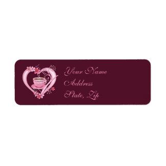 Café do amor etiqueta endereço de retorno