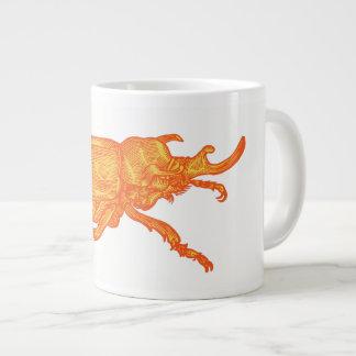 Café do besouro do rinoceronte caneca de café grande