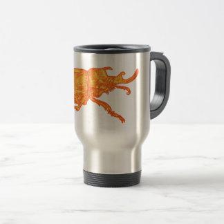 Café do besouro do rinoceronte caneca térmica