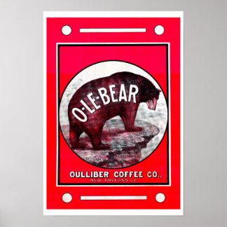 Café do O-Le-Urso Pôster