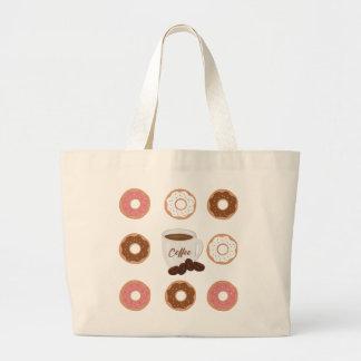Café e rosquinhas bolsa tote grande