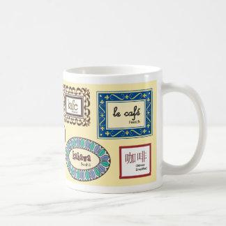 Café em línguas diferentes caneca de café