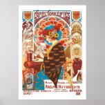 Café francês da ilustração do vintage de Nouveau Poster