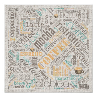 Café na cerceta ID283 da nuvem da palavra de Poster Perfeito