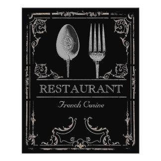 Café ornamentado do restaurante da forquilha da panfleto