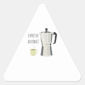 Café qualquer um adesivo triangular
