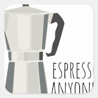 Café qualquer um adesivo quadrado