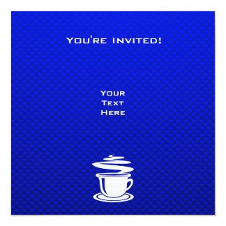 Café quente; Azul Convite Quadrado 13.35 X 13.35cm