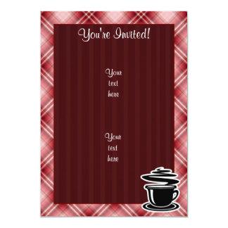 Café quente da xadrez vermelha convite 12.7 x 17.78cm