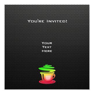 Café quente lustroso convite quadrado 13.35 x 13.35cm