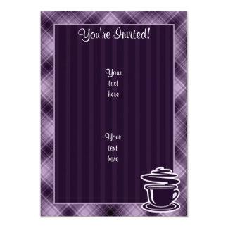 Café quente roxo convite 12.7 x 17.78cm