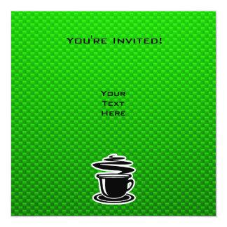 Café quente; Verde Convite Quadrado 13.35 X 13.35cm