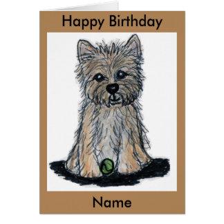 Cain bonito Terrier com o cartão de aniversário