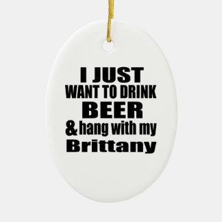 Cair com meu Brittany Ornamento De Cerâmica