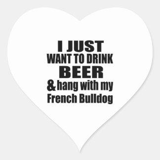 Cair com meu buldogue francês adesivo coração
