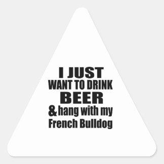 Cair com meu buldogue francês adesivo triangular