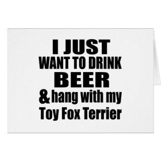 Cair com meu Fox Terrier do brinquedo Cartão Comemorativo
