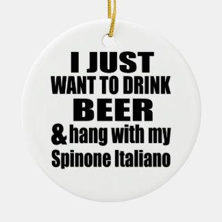Cair com meu Spinone Italiano Ornamento De Cerâmica Redondo