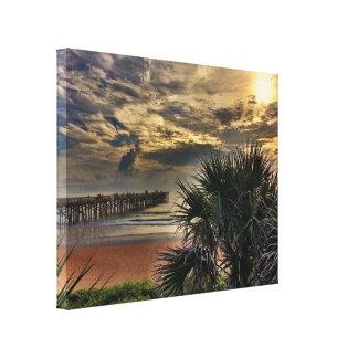 Cais da praia de Flagler na lona Impressão Em Tela