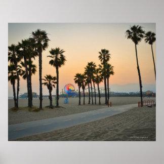Cais dos EUA, Califórnia, Santa Monica no por do s Pôster