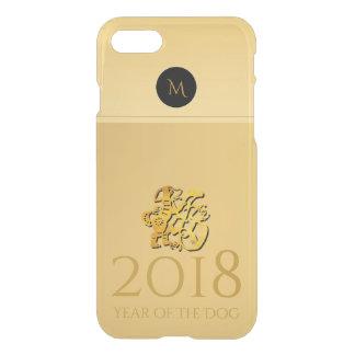 Caixa 2018 chinesa dourada do monograma de capa iPhone 7