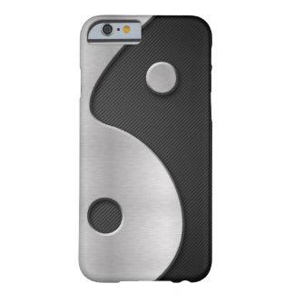 Caixa abstrata do carbono e do metal 4G de Yin Capa Barely There Para iPhone 6