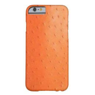 Caixa alaranjada da pele da avestruz do falso capa barely there para iPhone 6