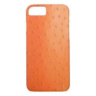 Caixa alaranjada da pele da avestruz do falso capa iPhone 7