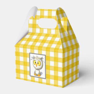 Caixa amarela & branca da coruja de Oliver do chá